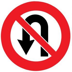 Ceļa zīme - Nr. 317 Apgriezties braukšanai pretējā virzienā aizliegts