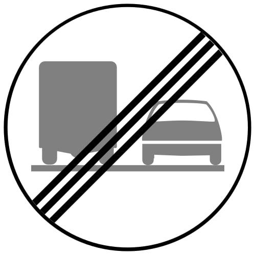 Ceļa zīme - Nr. 322 Kravas automobiļiem apdzīšanas aizliegums beidzas