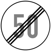 Ceļa zīme - Nr. 324 Maksimālā ātruma ierobežojums beidzas