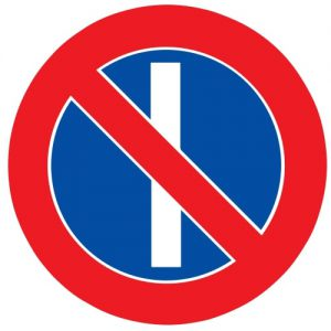 Ceļa zīme - Nr. 328 Nepāra datumos stāvēt aizliegts