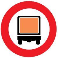 Ceļa zīme - Nr. 334 Transportlīdzekļiem ar bīstamu kravu braukt aizliegts