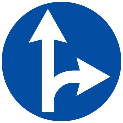 Ceļa zīme - Nr. 404 Braukt taisni vai pa labi