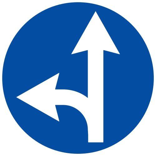 Ceļa zīme - Nr. 405 Braukt taisni vai pa kreisi