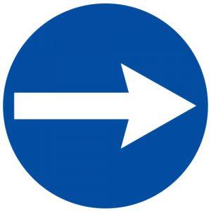 Ceļa zīme - Nr. 407 Braukt pa labi
