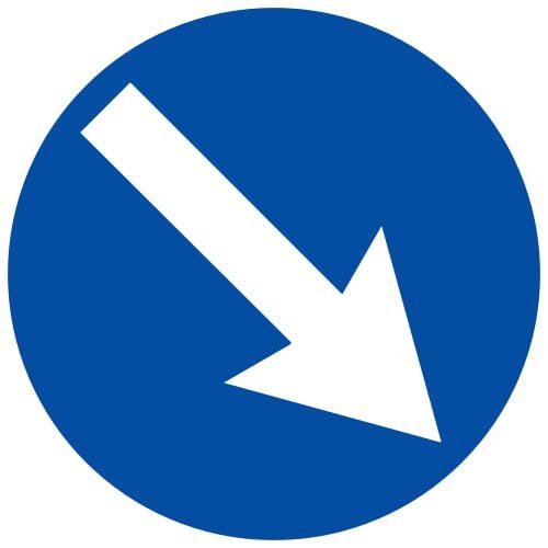 Ceļa zīme - Nr. 410 Šķērsli apbraukt pa labo pusi