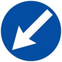 Ceļa zīme - Nr. 411 Šķērsli apbraukt pa kreiso pusi