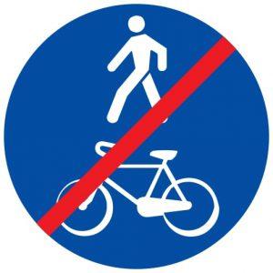 Ceļa zīme - Nr. 418 Kopīga gājēju un velosipēdu ceļa beigas