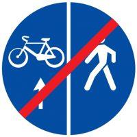 Ceļa zīme - Nr. 420 Gājēju un velosipēdu ceļa beigas