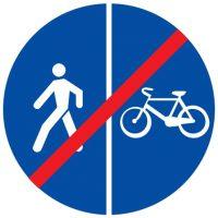 Ceļa zīme - Nr. 422 Gājēju un velosipēdu ceļa beigas
