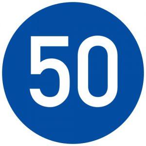 Ceļa zīme - Nr. 423 Minimālā ātruma ierobežojums