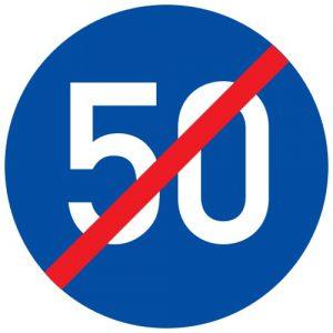 Ceļa zīme - Nr. 424 Minimālā ātruma ierobežojuma beigas