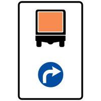 Ceļa zīme - Nr. 426 Transportlīdzekļiem ar bīstamu kravu braukt pa labi