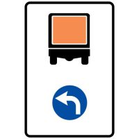 Ceļa zīme - Nr. 427 Transportlīdzekļiem ar bīstamu kravu braukt pa kreisi