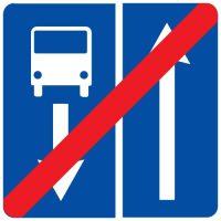 Ceļa zīme - Nr. 508 Ceļa ar joslu pasažieru sabiedriskajiem transportlīdzekļiem beigas