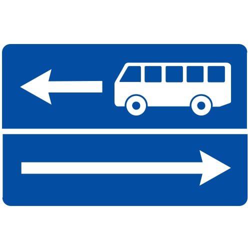 Ceļa zīme - Nr. 509 Izbraukšana uz ceļa ar joslu pasažieru sabiedriskajiem transportlīdzekļiem