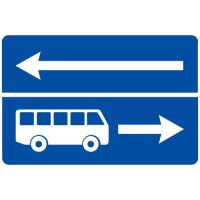 Ceļa zīme - Nr. 510 Izbraukšana uz ceļa ar joslu pasažieru sabiedriskajiem transportlīdzekļiem