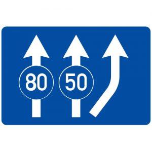 Ceļa zīme - Nr. 511 Minimālā braukšanas ātruma ierobežojums joslās