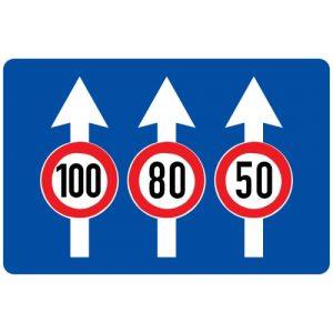 Ceļa zīme - Nr. 512 Maksimālā braukšanas ātruma ierobežojums joslās