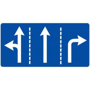 Ceļa zīme - Nr. 513 Braukšanas virzieni joslās