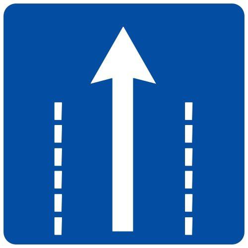 Ceļa zīme - Nr. 514 Braukšanas virziens joslā