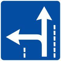 Ceļa zīme - Nr. 518 Braukšanas virzieni joslā
