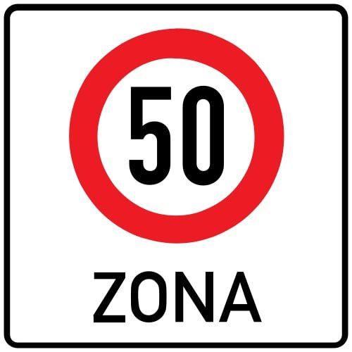 Ceļa zīme - Nr. 525 Maksimālā ātruma ierobežojuma zona