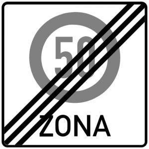Ceļa zīme - Nr. 526 Maksimālā ātruma ierobežojuma zonas beigas