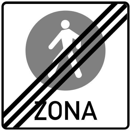 Ceļa zīme - Nr. 528 Gājēju ceļu zonas beigas