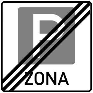 Ceļa zīme - Nr. 530 Stāvvietu zonas beigas