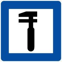 Ceļa zīme - Nr. 605 Tehniskās apkopes punkts