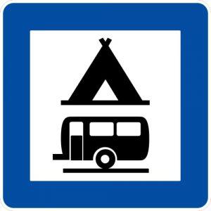 Ceļa zīme - Nr. 614 Kempings un kempingpiekabju stāvvieta