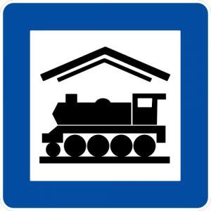 Ceļa zīme - Nr. 626 Dzelzceļa stacija