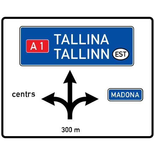 Ceļa zīme - Nr. 702 Iepriekšējs virzienu rādītājs