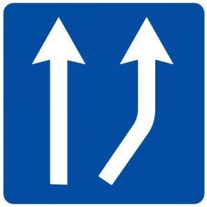 Ceļa zīme - Nr. 714 Joslas sākums