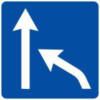 Ceļa zīme - Nr. 716 Joslas beigas