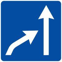 Ceļa zīme - Nr. 717 Joslas beigas