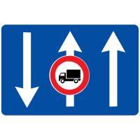Ceļa zīme - Nr. 718 Braukšanas virzieni joslās