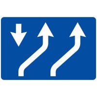 Ceļa zīme - Nr. 720 Braukšanas virzieni joslās