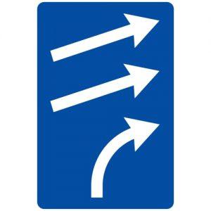 Ceļa zīme - Nr. 722 Joslas piekļaušanās pamatjoslām