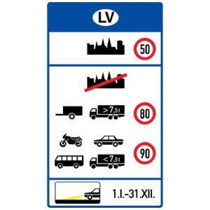 Ceļa zīme - Nr. 724 Satiksmes ierobežojumi Latvijā