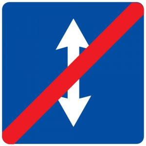 Ceļa zīme - Nr. 747 Maiņvirziena satiksmes beigas
