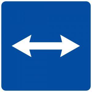 Ceļa zīme - Nr. 748 Izbraukšana uz ceļa, kur organizēta maiņvirziena satiksme