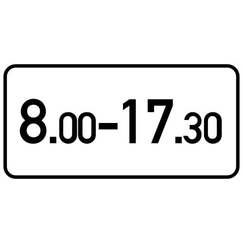 Ceļa zīme - Nr. 827 Darbības laiks