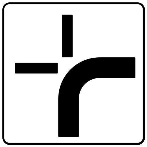 Ceļa zīme - Nr. 847 Galvenā ceļa virziens