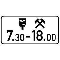 Ceļa zīme - Nr. 851 Maksas stāvvietas darbības laiks