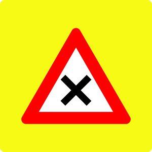 Ceļa zīme - Nr. 101 Vienādas nozīmes ceļu krustojums (ar fluorescējošu apmali)