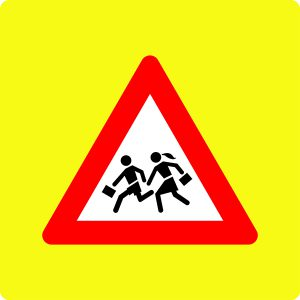 Ceļa zīme – Nr. 121 Bērni (ar fluorescējošu apmali)