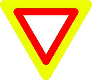 Ceļa zīme - Nr. 206 Dodiet ceļu (ar fluorescējošu apmali)
