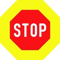 Ceļa zīme - Nr. 207 Neapstājoties tālāk braukt aizliegts (ar fluorescējošu apmali)