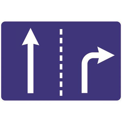 Ceļa zīme - Nr. 513 Braukšanas virzieni joslās (divas joslas)
